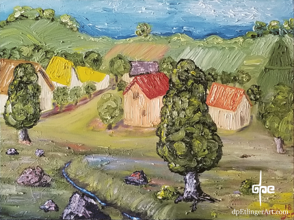 Hillside Harvest with Brook-oil on canvas-dpEtlingerArt.com