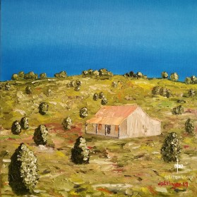 "Blue Sky with Cabin-Oil on Canvas-20""x20""--dpEtlingerArt.com"