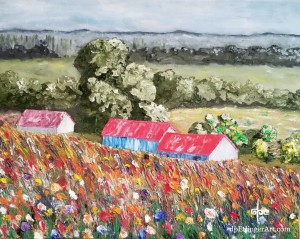 "Fog and Flowers-Oil on Canvas-16""x20""-dpEtlingerArt.com"
