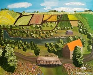 """Village Bridge-Oil on Canvas-24""""x30""""--dpEtlingerArt.com"""